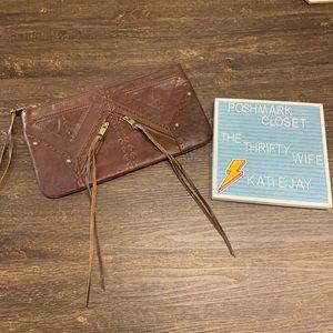 Rebecca Minkoff Leather Brown Trendy patchwork Fringe clutch